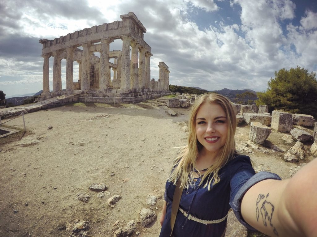 Sophie in front of the Temple of Aphaea in Greece