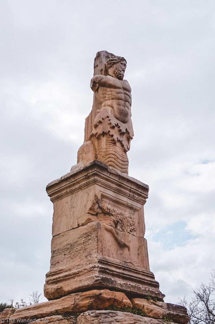 One of the many ruined statues one can find in the ancient ruins of Ancient Agora.