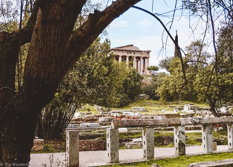 Looking off in the distance in Ancient Agora, you can see the Temple of Hephaestus.