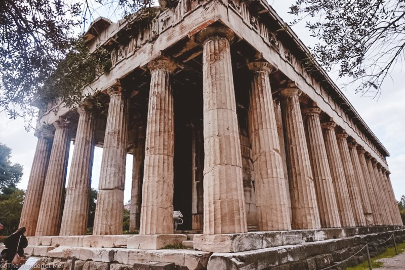 The Athens ruin of the Temple of Hephaestus, one of the most well-preserved temples in all of Athens.