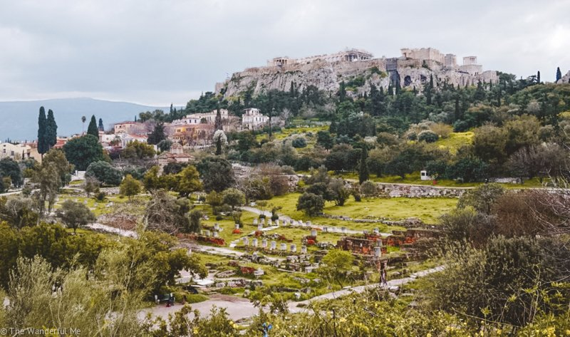 Ancient Agora in the foreground and a view of the Acropolis in the background.
