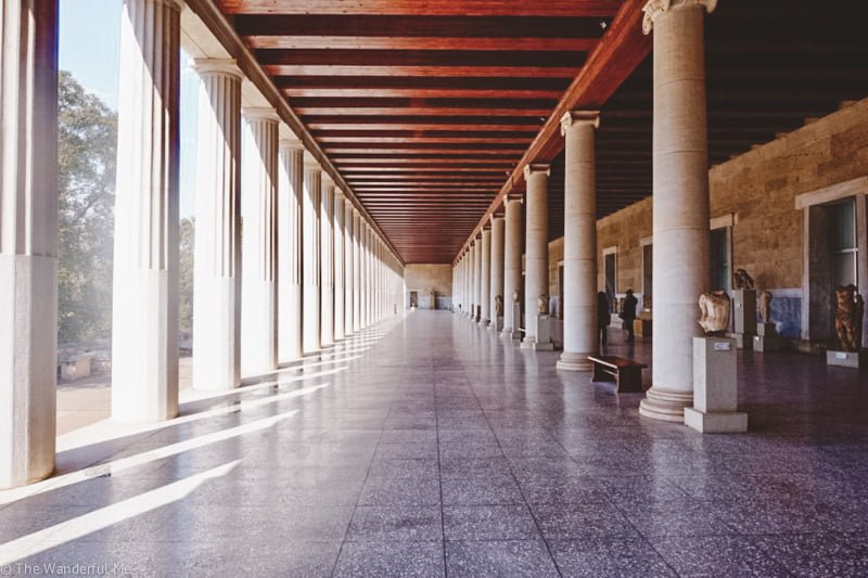 Inside the Stoa of Attalos, a once major shopping center in ancient Athens.