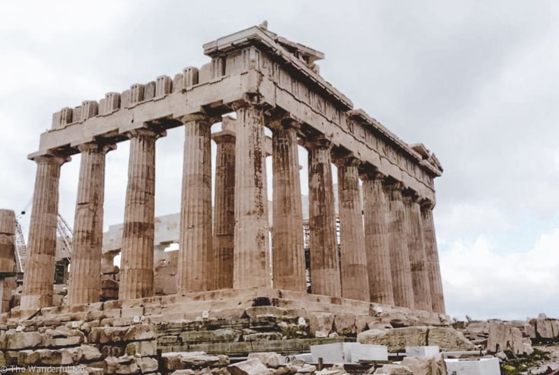 Another angle of the Parthenon, a popular ancient Athens ruin.