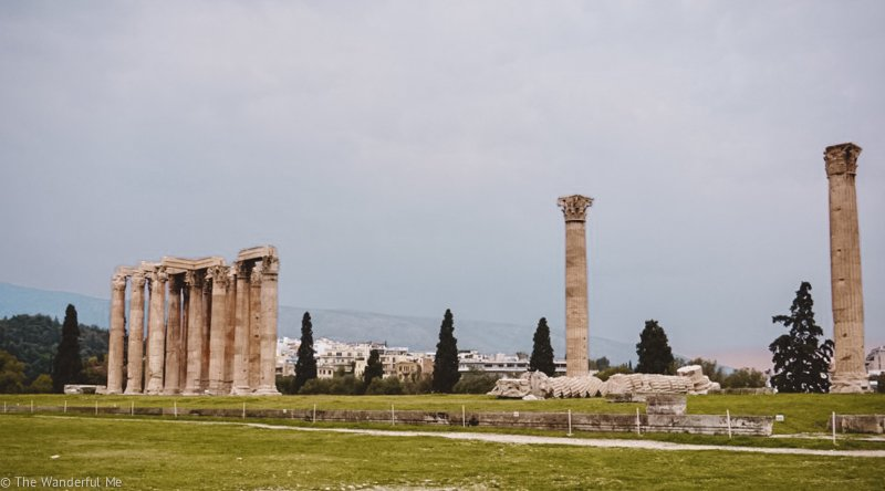 A wider view of the pieces of the Temple of Zeus ruins, showing how massive this temple once was.