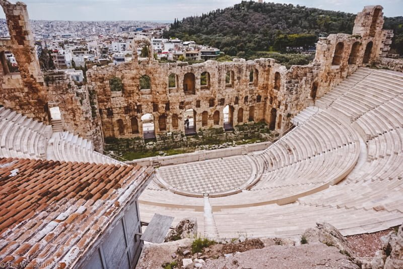 A photo of the Theatre of Dionysus Eleuthereus, a popular theater in ancient Greece.