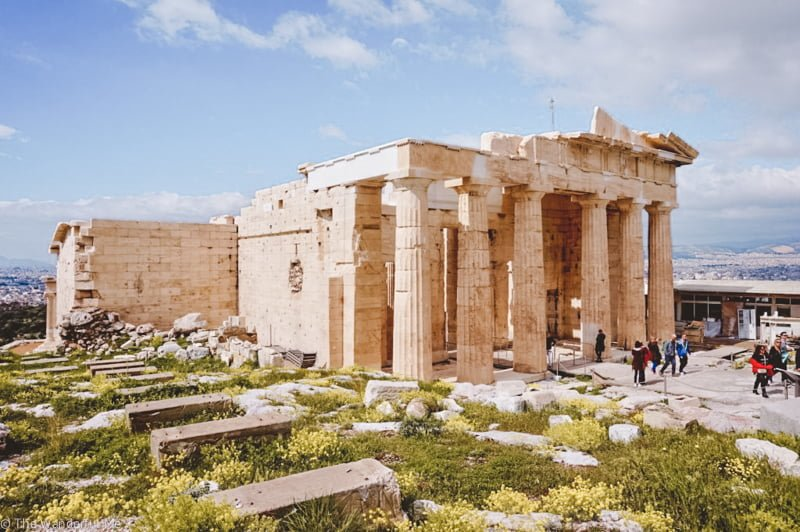 The Propylea, also known as the gate to the Acropolis and the ruins situated on it.