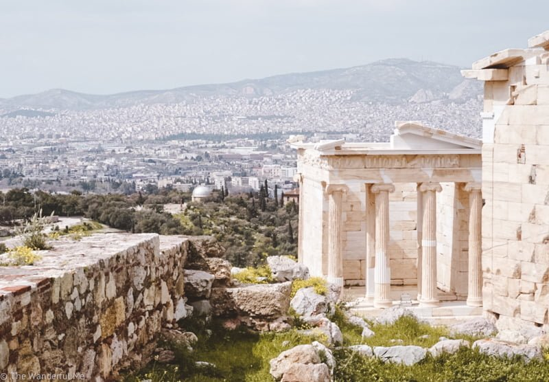 The newer Temple of Athena Nike, as well as a view of the city in the background.