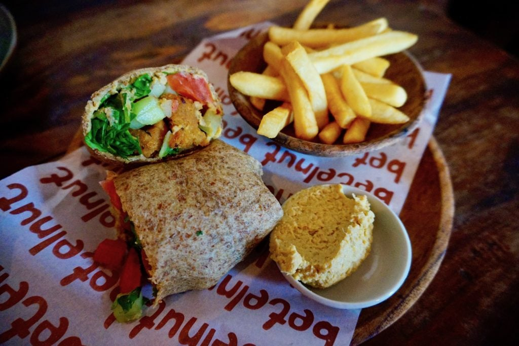 Belenut Cafe in Canggu dishes up a fabulous falafel wrap that'll leave you feeling full and satisfied.