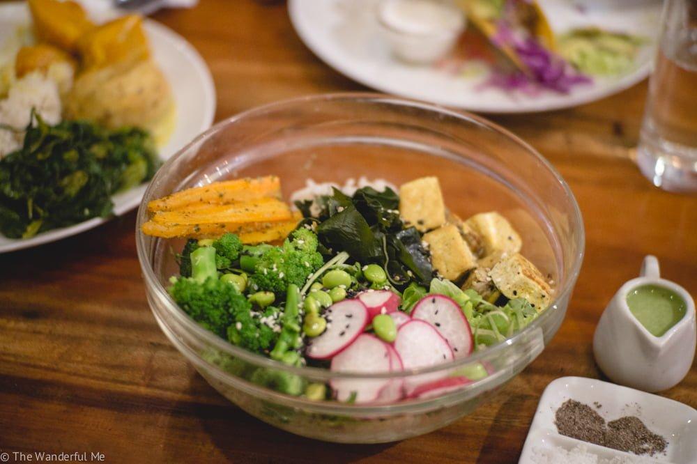 A green, nutrient-dense salad from Vinny's Warung -- called Vinny's Salad.