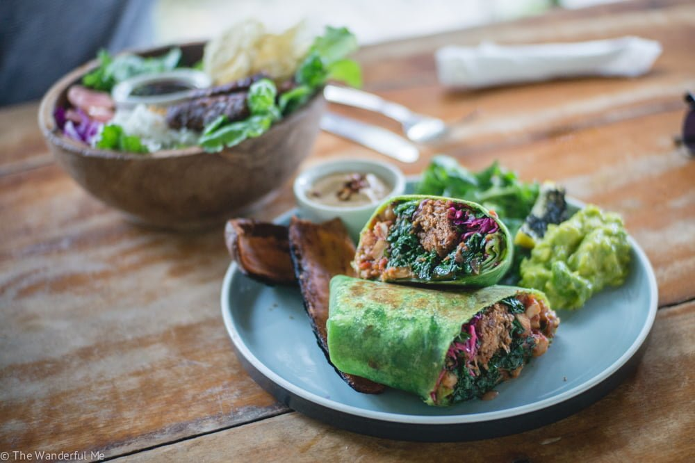A popular vegetarian restaurant in Canggu, The Shady Shack's vegan boss burrito is filled with crispy jackfruit, greens, beans, and more! So delicious.