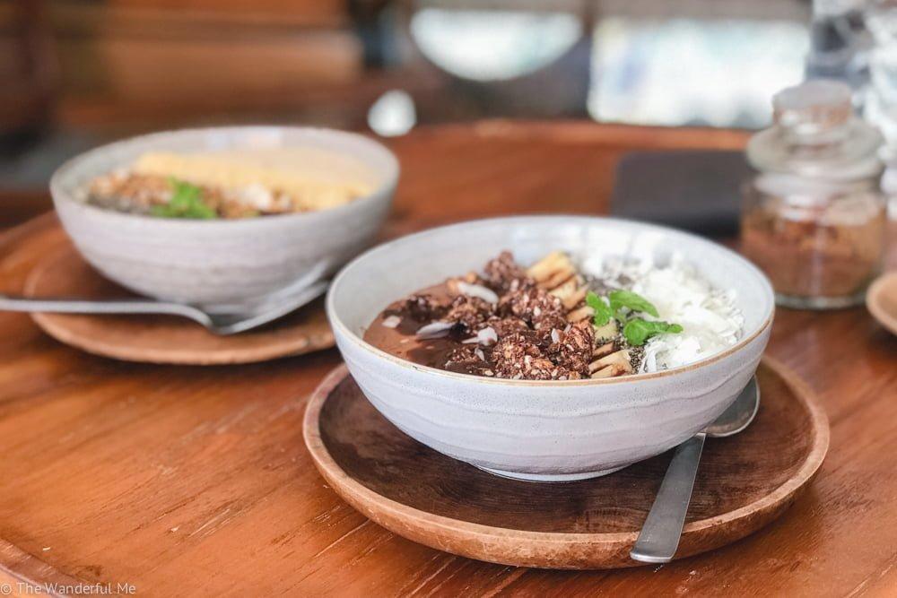 A creamy, delicious vegan smoothie bowl at the Secret Spot Cafe in Canggu, Bali.