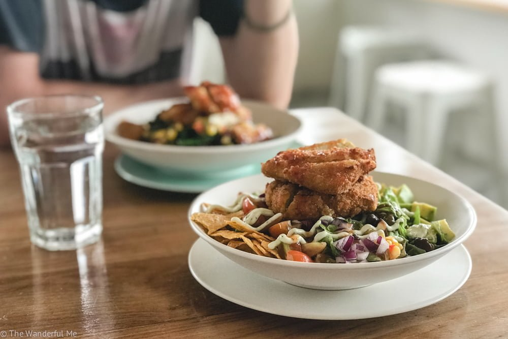 """The tofu """"chicken"""" Mexican salad from I Am Vegan Babe, located in the heart of Canggu."""