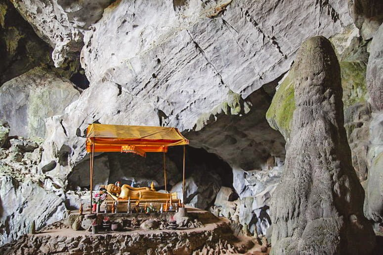 Phu Kham Cave, aka one of the best things to do in Vang Vieng, the party capital of Laos.