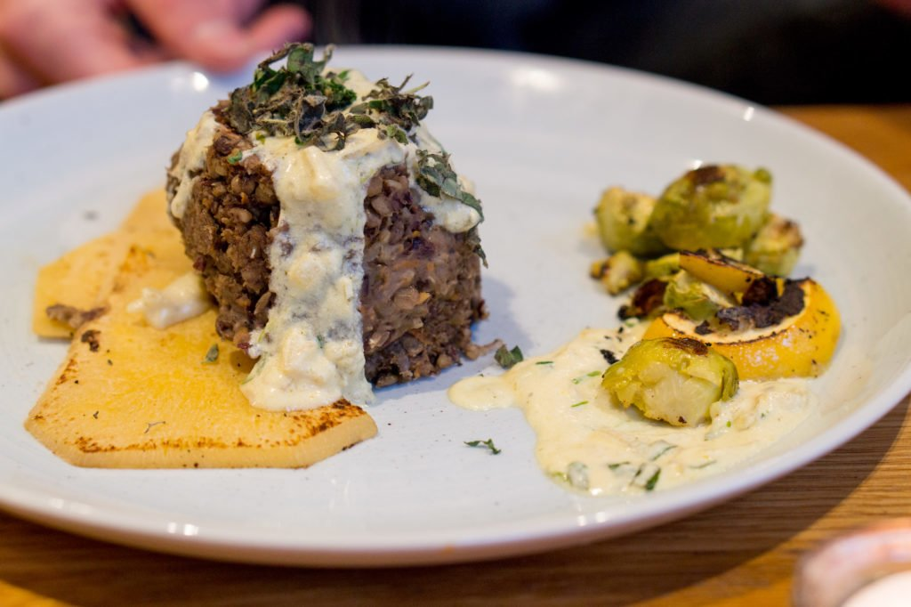 Vegan haggis from Hendersens Vegan Restaurant.