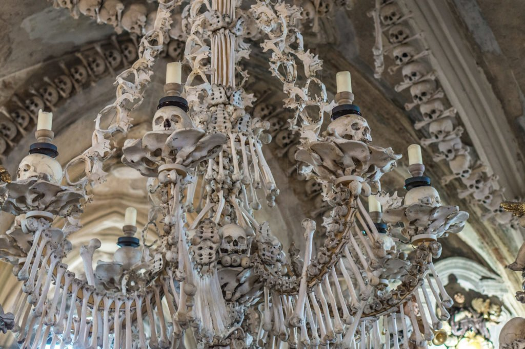 Elaborate human bone chandelier.
