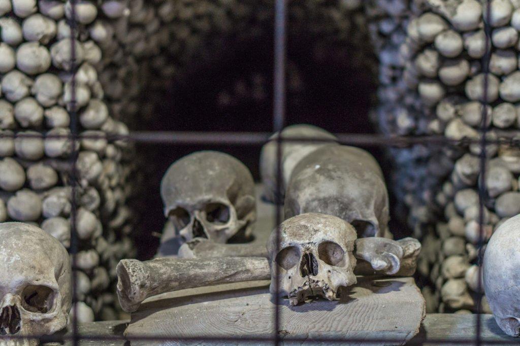 Skulls inside the Bone Church.