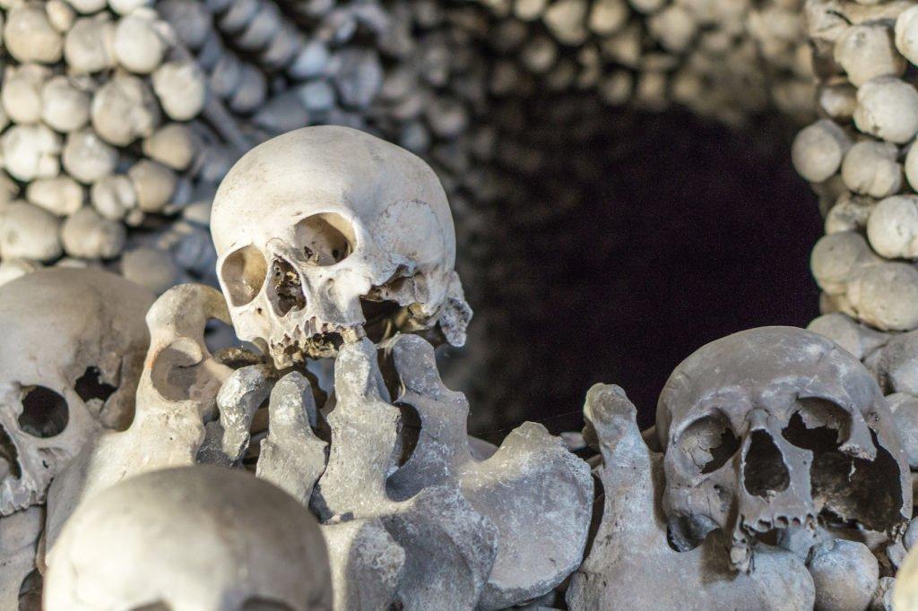 Human skull in the Bone Church, Kutna Hora.