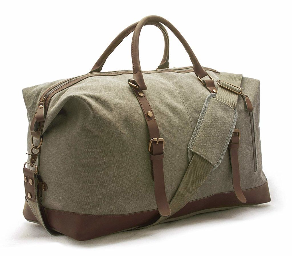 A sweet olive green color, the Sweetbriar Vintage Canvas Duffel bag features vegan leather accents, durability, and style.