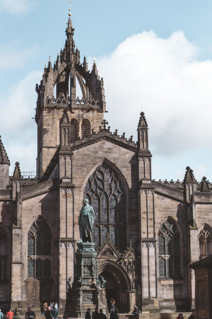 St. Giles Cathedral stands tall in Edinburgh's Old Town.