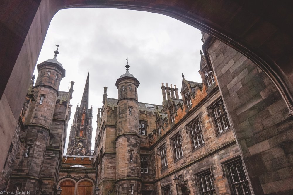 One of the beautiful gothic buildings one can view on a free tour in Edinburgh.