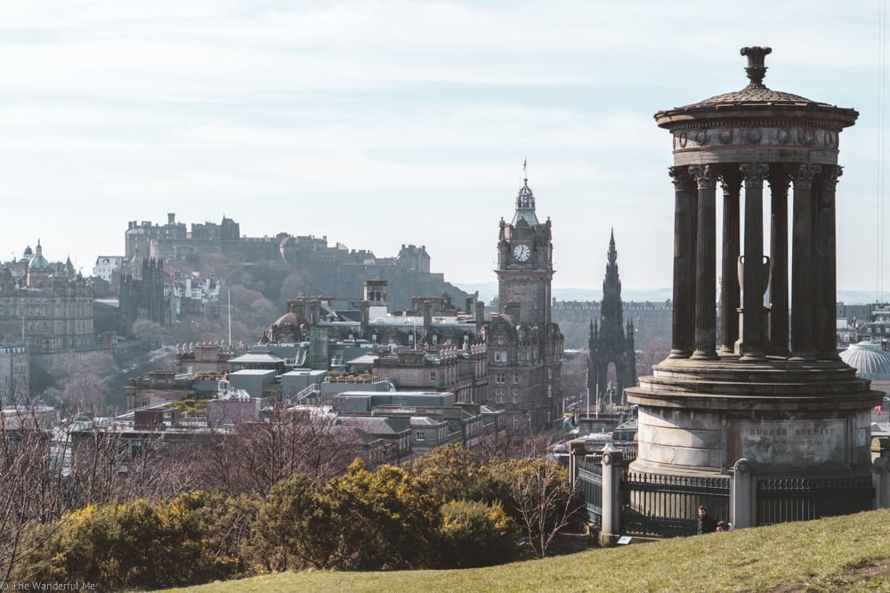 Overlooking the city and Edinburgh Castle at Calton Hill.
