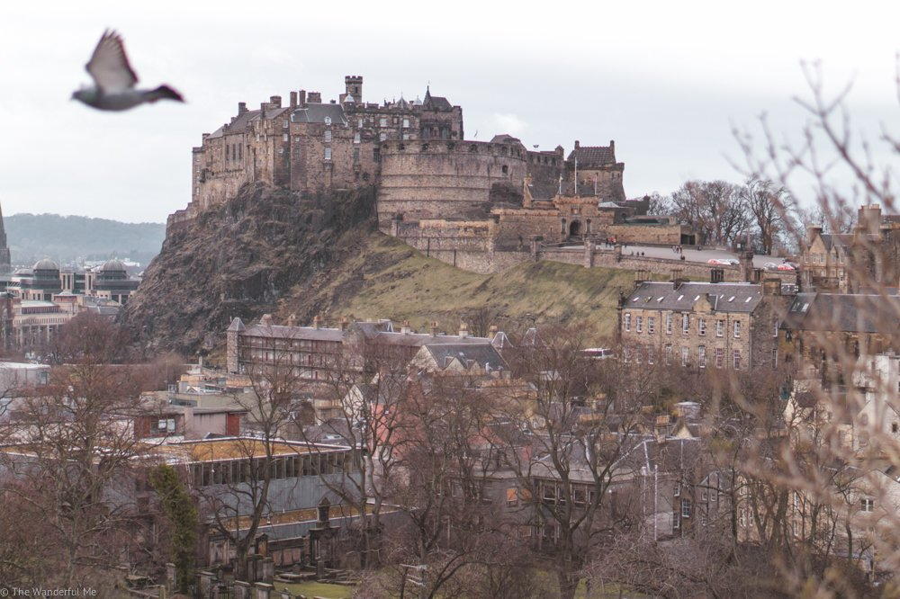 Edinburgh Castle sitting high on the hill.