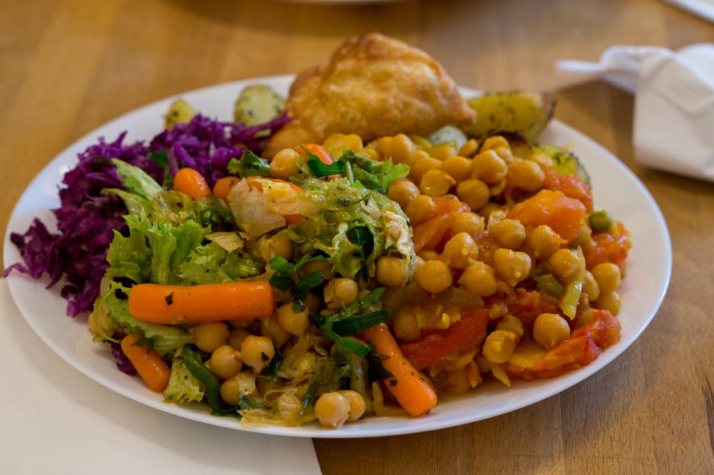 Plate of yummy vegan food from Vega. • Vegan in Warsaw: 10 Vegan Restaurants You Can't Miss!