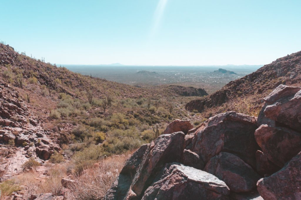 The view when hiking Hieroglyphic Trail near Phoenix, AZ.