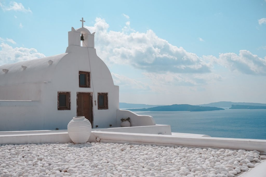 White church on Santorini. • Day Trip to Santorini from Athens Guide.