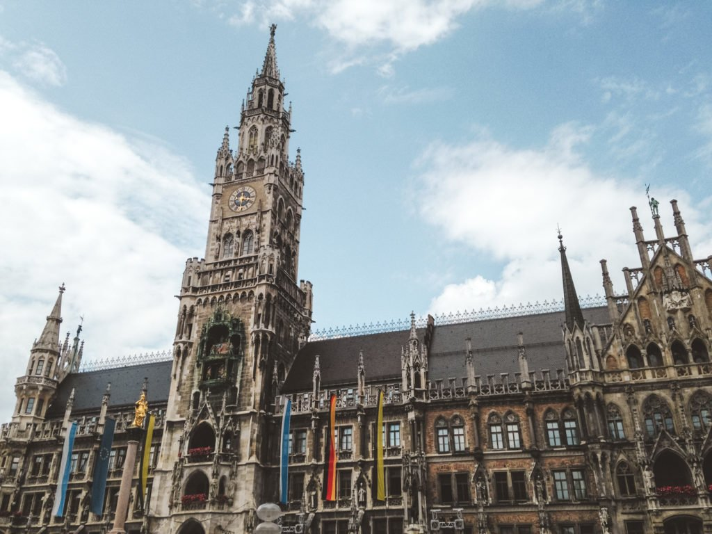 Munich's towering Neu Rathaus (New Town Hall) in the city center's Marienplatz.
