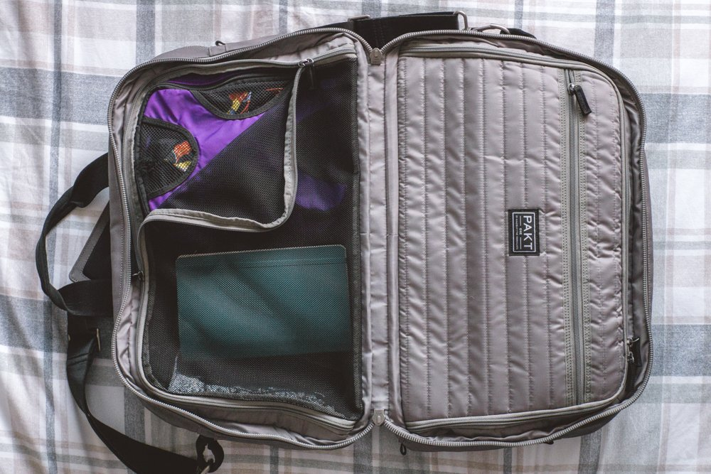 The Pakt One lightweight carry-on bag with a handy packing cube in it.