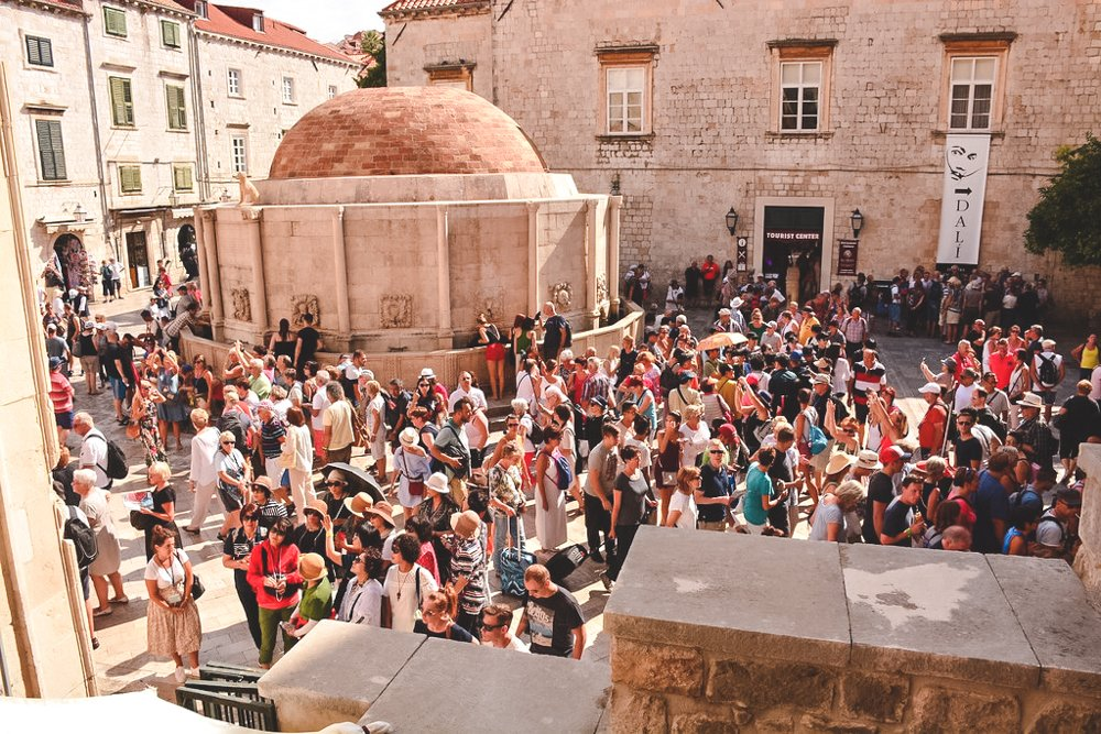 An unappealing site; hundreds of tourists pack the small streets of Dubrovnik, Croatia.