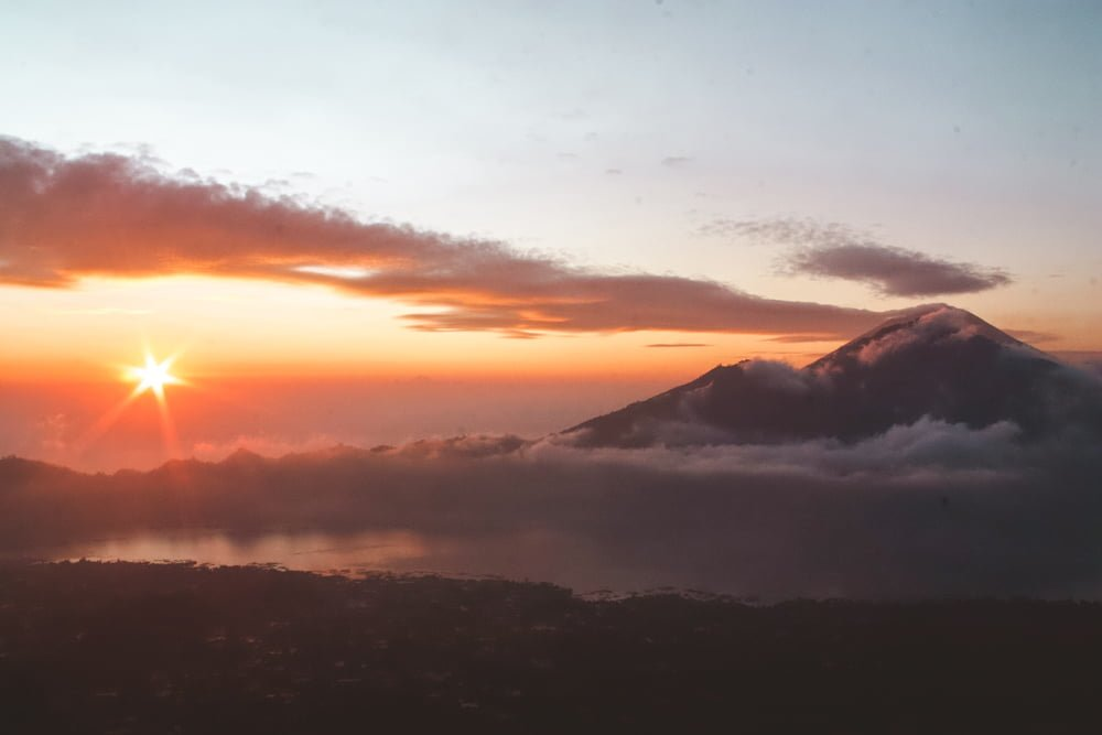 Sunrise at Mount Batur, where you can experience overtourism firsthand.