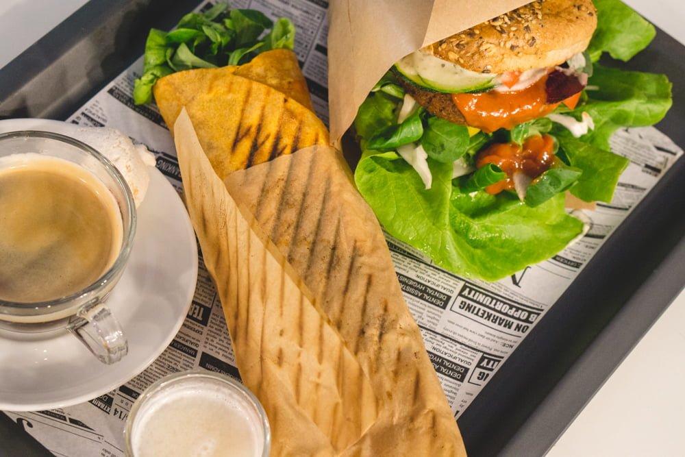 A vegan gyro wrap and a vegan burger from Free Farma Burgerownia in Krakow, Poland.