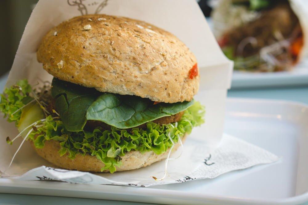 A tasty vegan burger at Krowarzywa in Krakow, Poland.