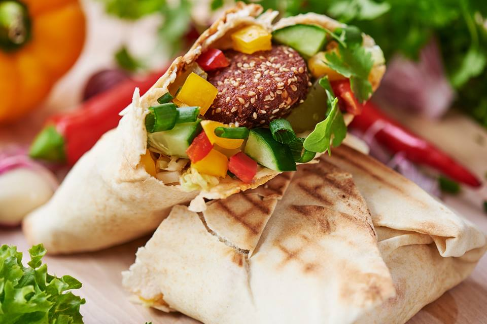 A tasty falafel and hummus wrap from the vegan food truck Vege To Tu in Krakow, Poland.