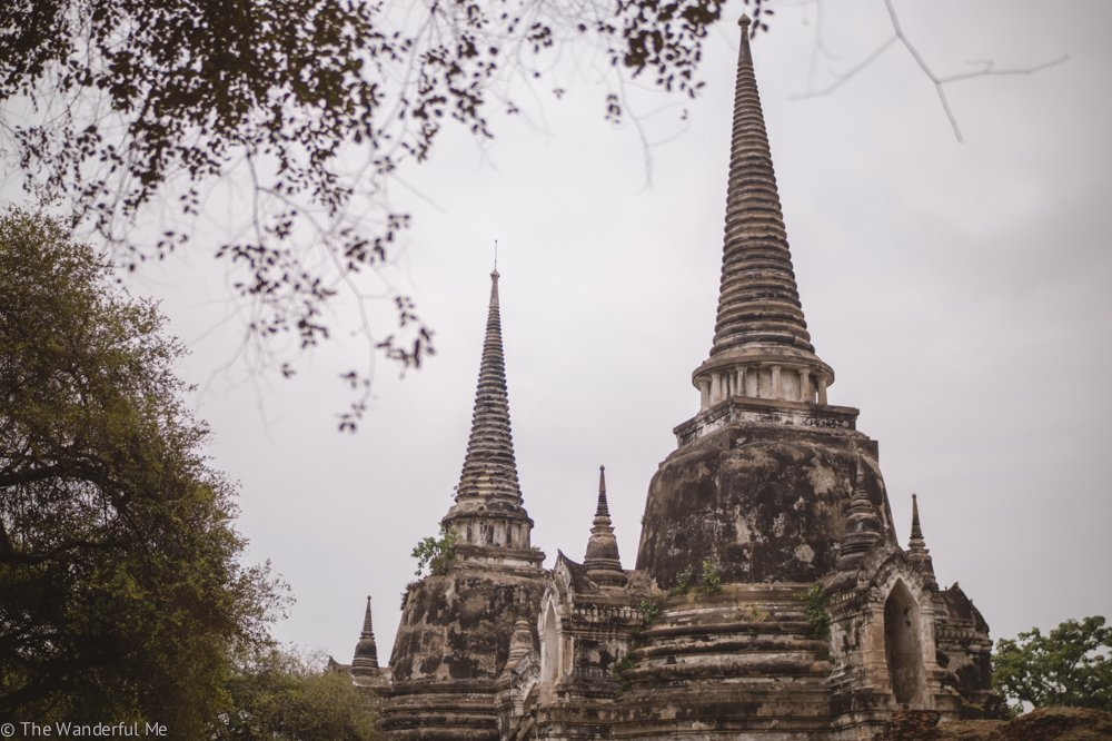 Two of the three Chedi temples in Wat Phra Si Sanphet, standing tall in the distance.