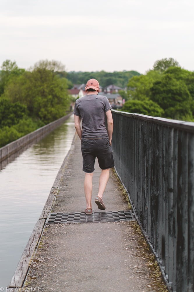 Dan walks across the aquaduct, admiring the views and loving life in North Wales.