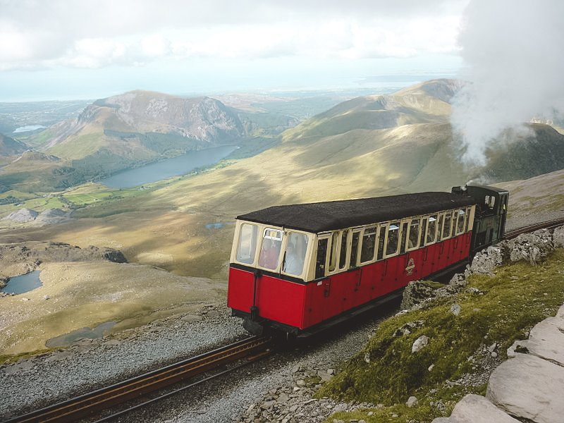 The Snowdon Railway chugs up the mountain and a spectacular view in the background will take anyone's breath away.