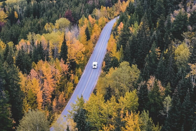 An RV drives down the road through a lush forest filled with the colors of orange, yellow, and gorgeous greens!