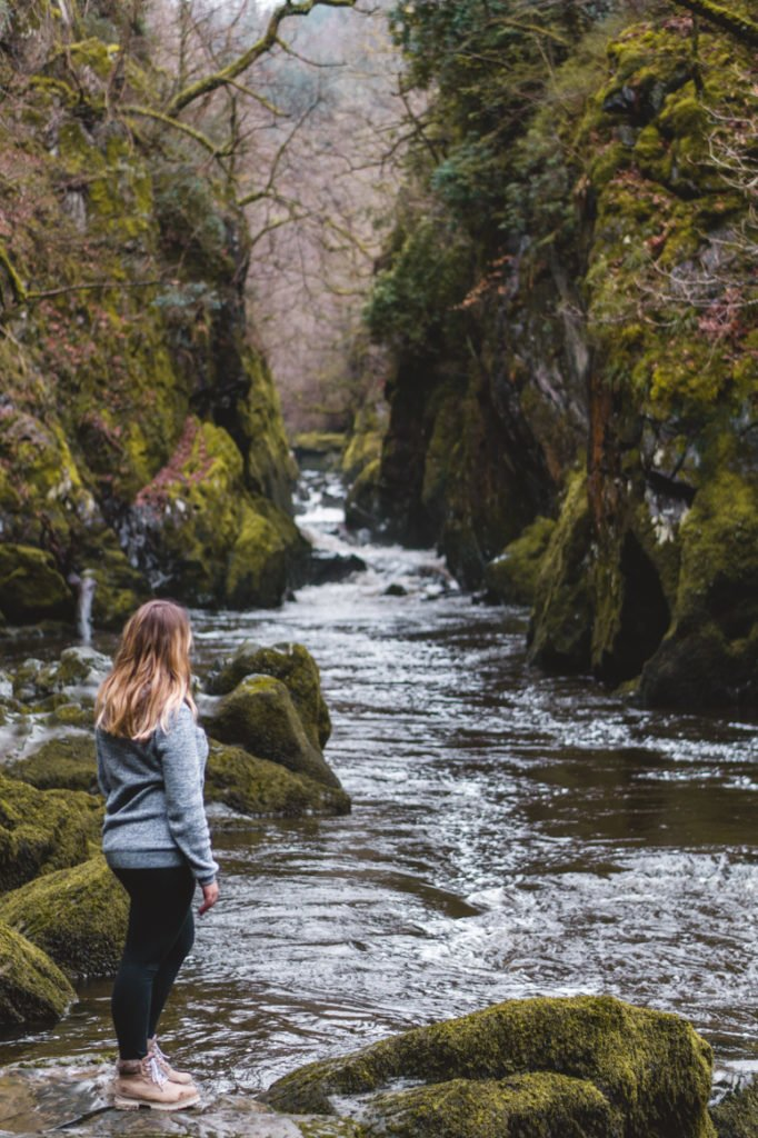 Sophie visiting Fairy Glen, a gorgeous little spot to check out when visiting North Wales.