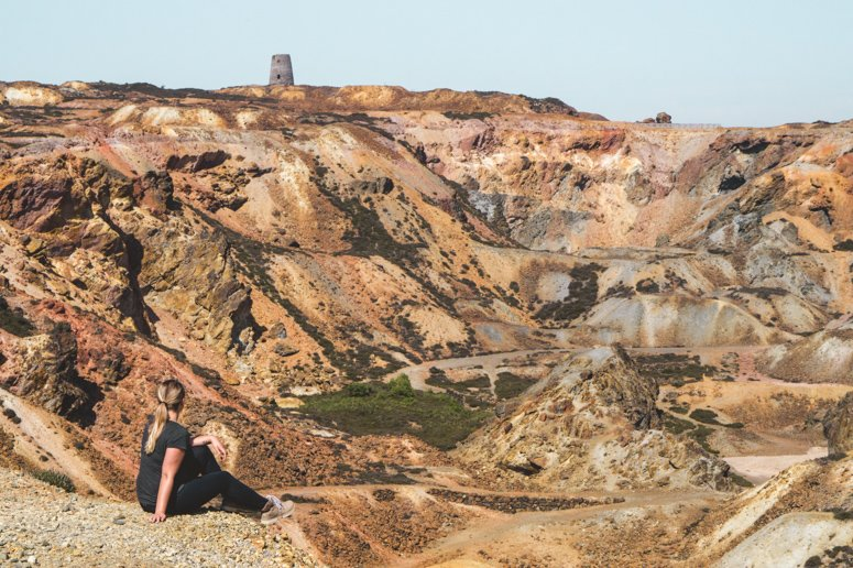 Sophie hanging out at Parys Mountain, an abandoned copper mine on the island of Anglesey in North Wales.