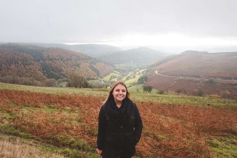 Sophie cheesing while visiting the Horseshoe Pass in Llangollen, a cute little place in North Wales.