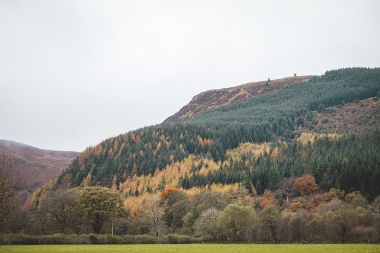 Fall colors paint the mountains of Wales.