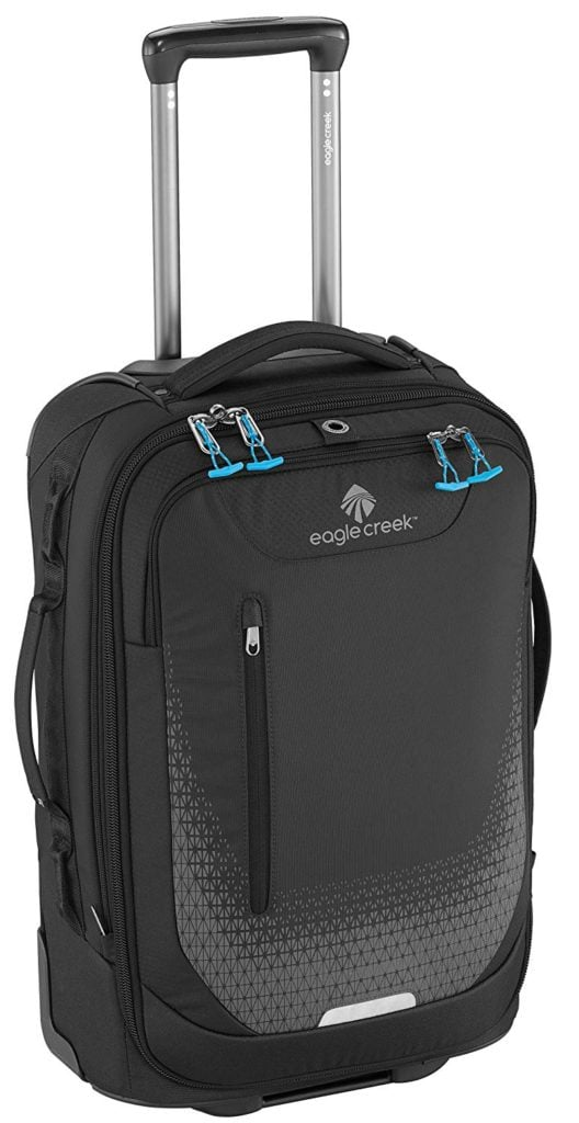Not the most stylish roller carry-on bag but wowza, the black Eagle Creek Expanse luggage is built to last you a lifetime.