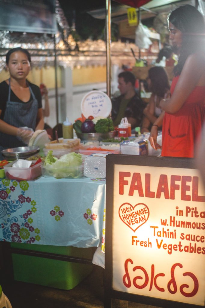 Falafel Queen is a vegan food stand in Pai that is hot with backpackers! Don't miss out on the perfectly fried falafels wrapped in a warm pita, topped with fresh veggies and hummus!