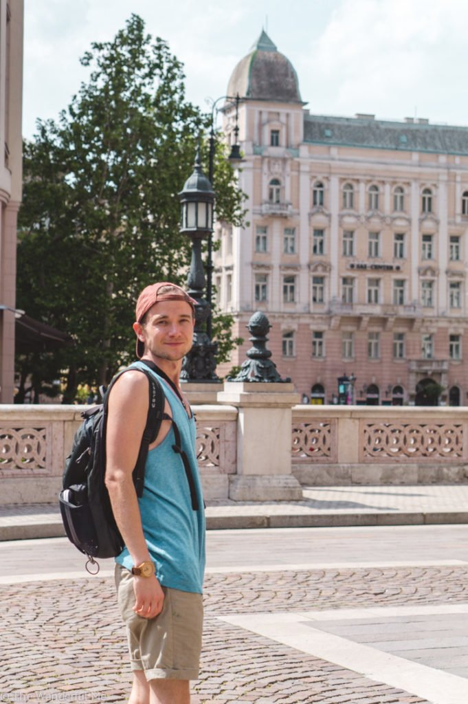 Dan in Budapest with the Osprey 15L daypack in toll.