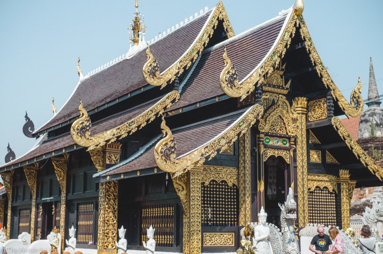 One of the beautiful black and gold temples in Chiang Mai, Thailand. Don't forget to pack a sarong though! A top tip in this Southeast Asia travel guide.