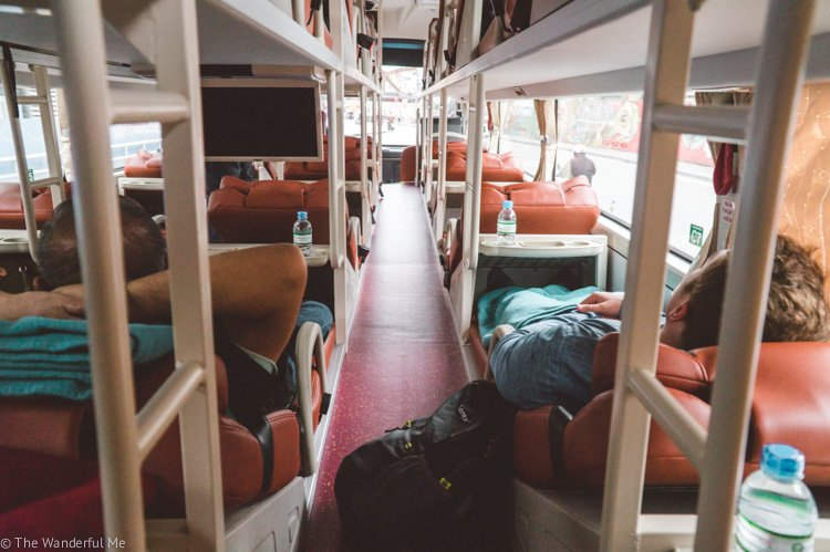 A comfy sleeping bus in Vietnam, a prime way to travel the country.