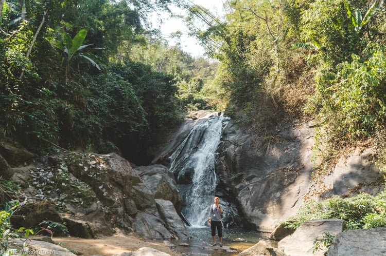 A wild waterfall in the middle of nowhere Thailand with Dan on his phone... classic!